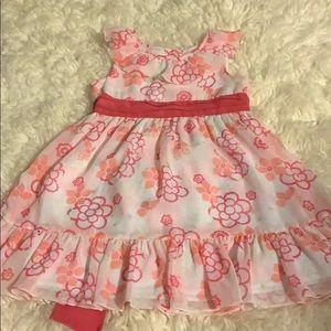 Pink floral print girls dress